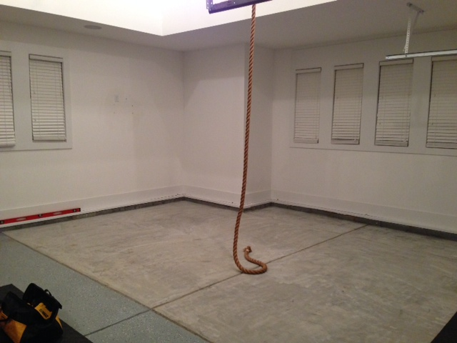 Leveling the garage floor for gym modflair